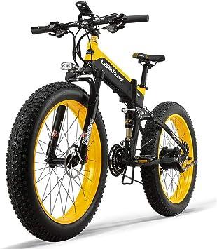 ZZQ 26 Fat de Ruedas Plegable Bicicleta eléctrica de 48V 13Ah 27 Velocidad de suspensión Completo de la Nieve de la montaña de Doble Disco hidráulico de Frenos,Amarillo: Amazon.es: Deportes y