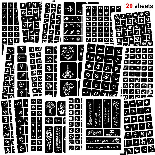 Konsait 758pcs Temporary Tattoos Stencils, 20 Sheets Tiny Tattoo Stencils Girls and Boys Glitter Tattoo Kit Templates Face Paint Stencils Body Art Stencil Pack for Adults Man Women Kids Teenager
