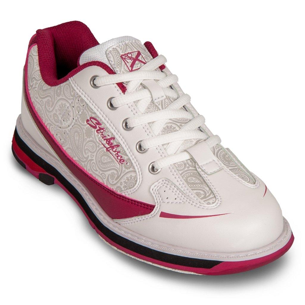 KR Strikeforce Bowling Shoes Womens Curve Bowling Shoes- 6 1/2 M US, White/Scarlet/Paisley, 6.5