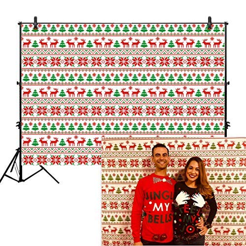 Allenjoy 7x5ft Ugly Sweater Backdrop for Tacky Holiday Party Event Supplies Decor Decorations Merry Christmas Festival Happy New Year Winter Season Family Friends Background Banner Photo Booth Props ()
