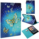 "TiKeDa Case for All-New Amazon Fire HD 10 Tablet (7th/5th Generation,2017/2015 Release) - Premium PU Leather Slim Fit Smart Stand Cover with Auto Wake/Sleep for Fire HD 10.1"" Tablet (Gold Butterfly)"