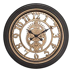 Equity by La Crosse 86611 20 in. Brown Cut-Out Gears Analog Clock