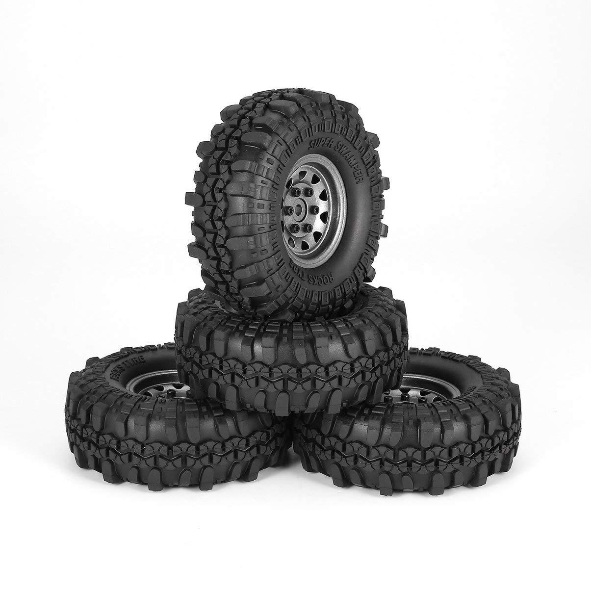 JullyeleDEgant 4Pcs 1.9 Inch 110mm Rubber Tires Tire with Metal Wheel Rim Set for 1/10 Traxxas TRX-4 SCX10 RC4 D90 RC Crawler Car Part