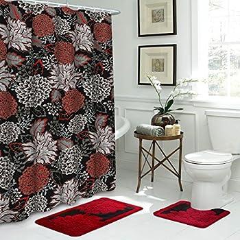 Bath Fusion Sonrie Shower Curtains Black Barn Red