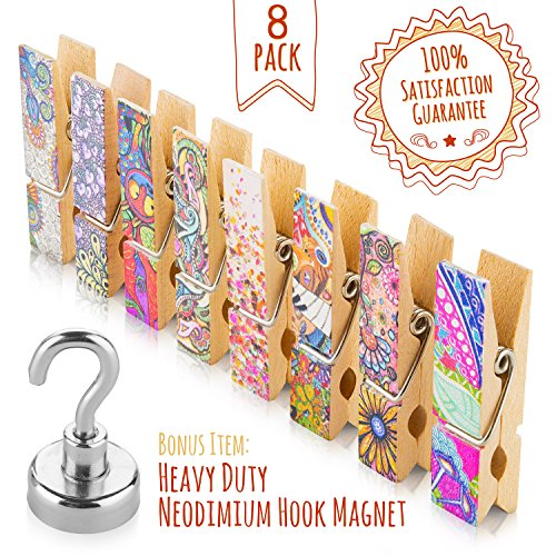 Fridge Magnets Set - 8 Strong Decorative Magnetic Clips + 1 Magnetic Hook - Display Photos & Memos On a Whiteboard, Refrigerator, Office Or Classroom In Unique & Fun Way By Treats&Smiles by Treats&Smiles