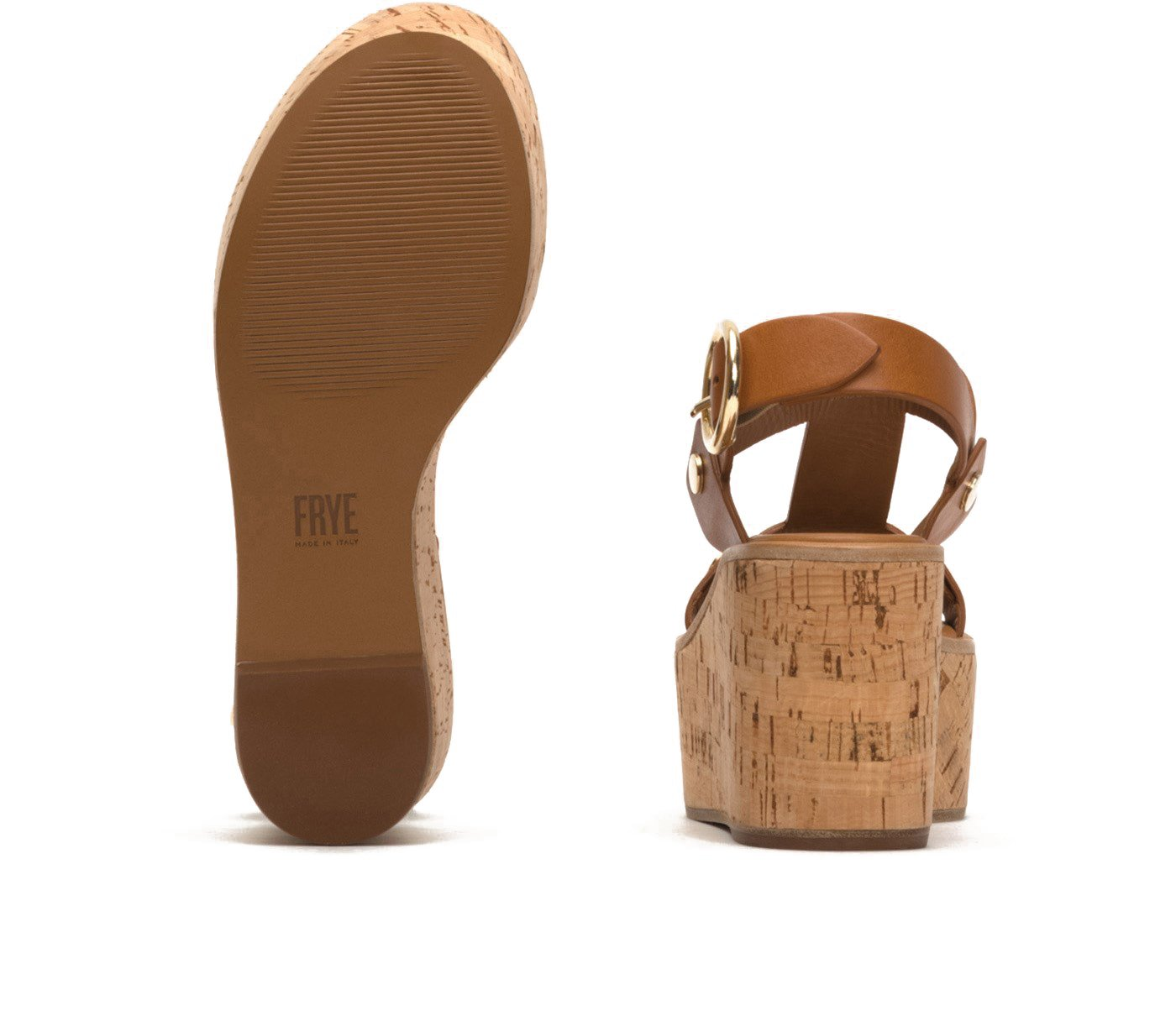 FRYE 79956 Women's Dahlia Rivet Wedge Sandal B076KKRHG4 7.5 B(M) US|Caramel
