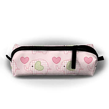 5f8645f22 Image Unavailable. Image not available for. Color: OLGCZM Cute Pink Plaid  Elephant Loving Heart Pencil Case,Pen Bag .
