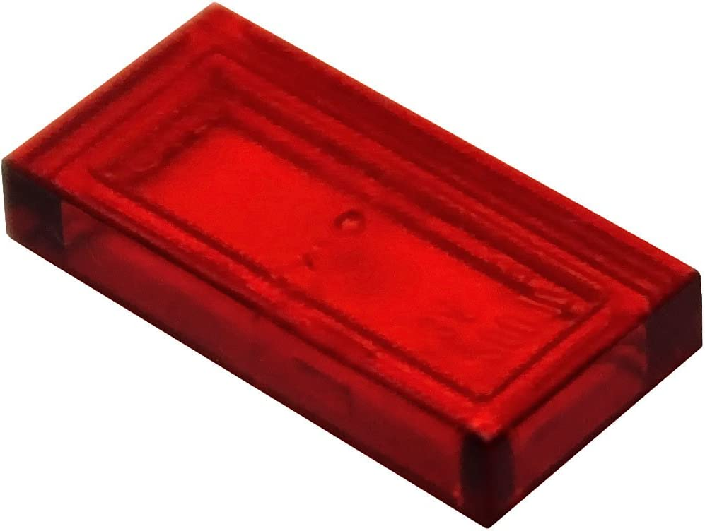 LEGO Parts and Pieces: Transparent Red 1x2 Tile x50