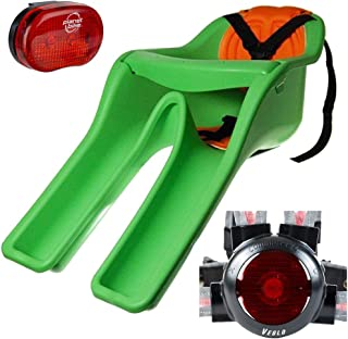 """product image for iBert (CC01001 Safe-T-Seat w/New Padded Front-Mounted Child Bicycle Seat Green with Bundle Includes, Planet-Bike Blinky 3"""" 3-Led Rear Bicycle Light & Veglo Commuter X4 Wearable Rear Light System"""