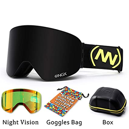 477b68ec8bf KUYGF Ski Goggles Skiing Eyewear Double Lens UV400 Anti-Fog Adult Snowboard Skiing  Glasses Women