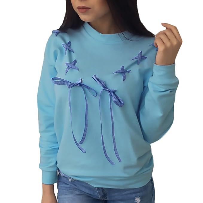 Mujer Sudaderas Deportivas Anchas Sweatshirts Invierno Otoño Elegantes Sudadera Basicas Manga Lindo Chic Larga Cuello Redondo