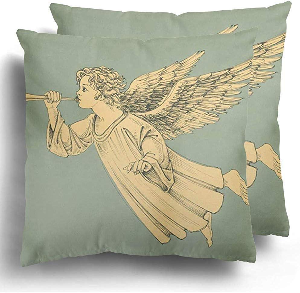 Not Applicable Paquete de 2 Fundas de Cojines Decorativos de m/úsica de Vuelo Antiguo Vintage Vintage Christmas Angel Grabado para Uso dom/éstico