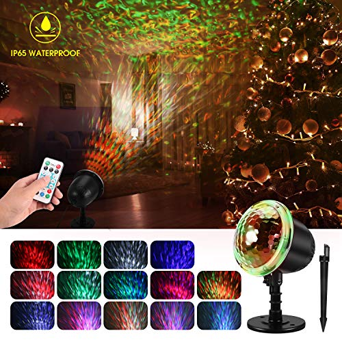 Water Wave Christmas Projector Lights, KINGWILL Waterproof LED Night Light Projector with Ripple RGB 3D Water Effect, Remote Control Holiday Projector for Christmas Wedding Party Holiday Disco