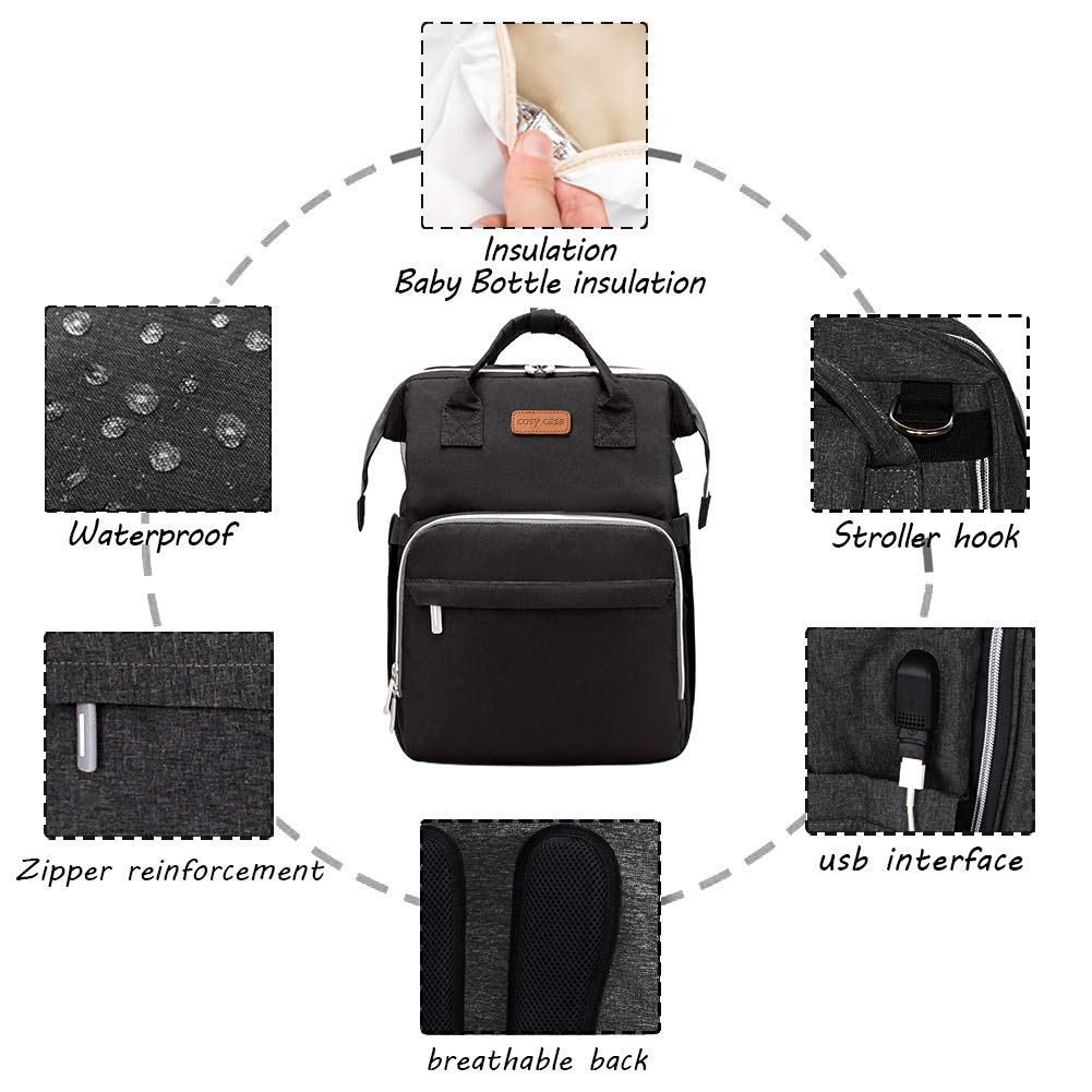 Cosy Casa Baby Diaper Bag Backpack with Travel Bassinet Changing Station Mat Portable Crib for Baby Girl Boy Infant Mom Black Mommy Bag Tote with Toddler Bed Sleeper Diaper-Bag-Backpack-Baby-Travel