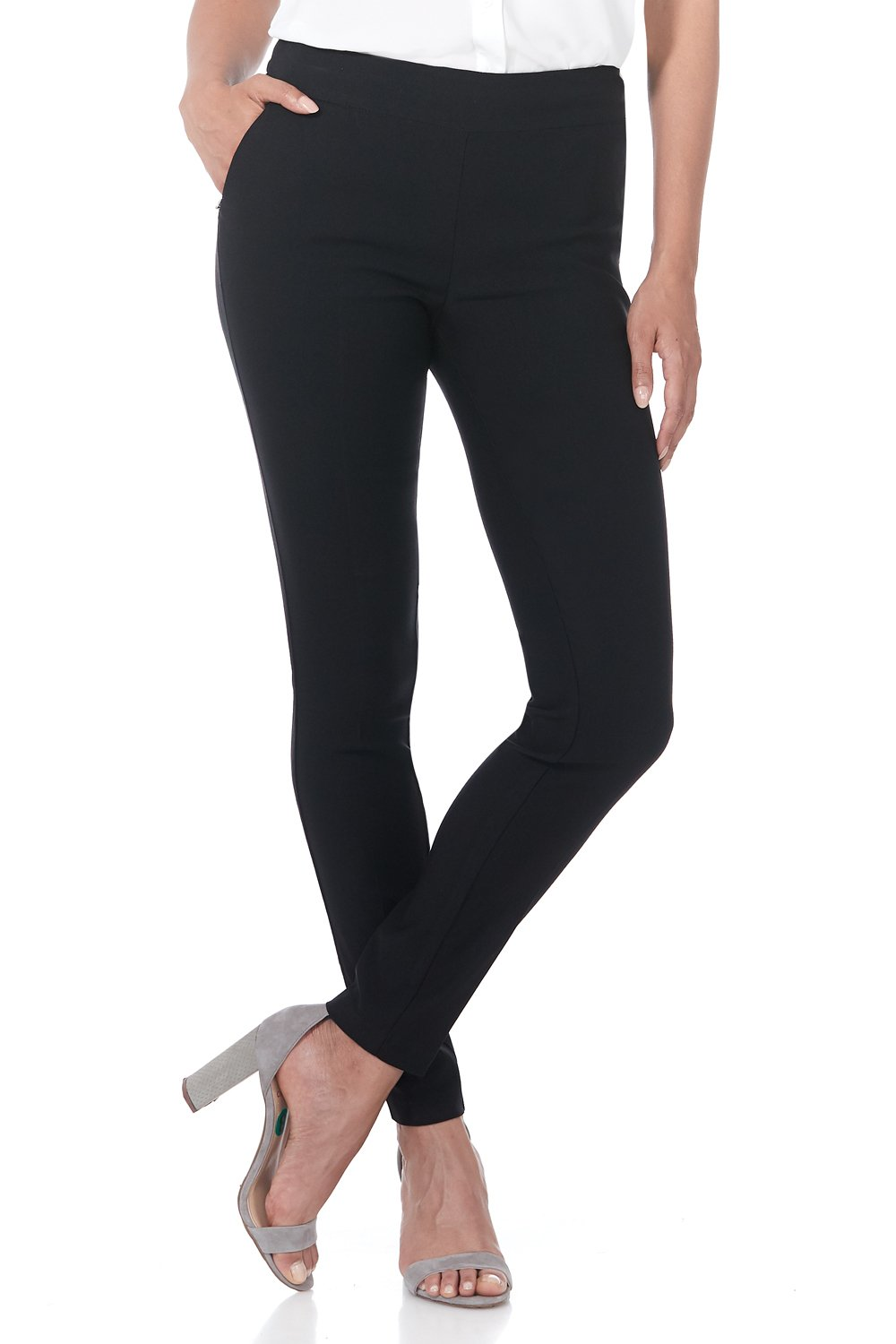 Rekucci Women's Ease in to Comfort Modern Stretch Skinny Pant w/Tummy Control (16,Black)