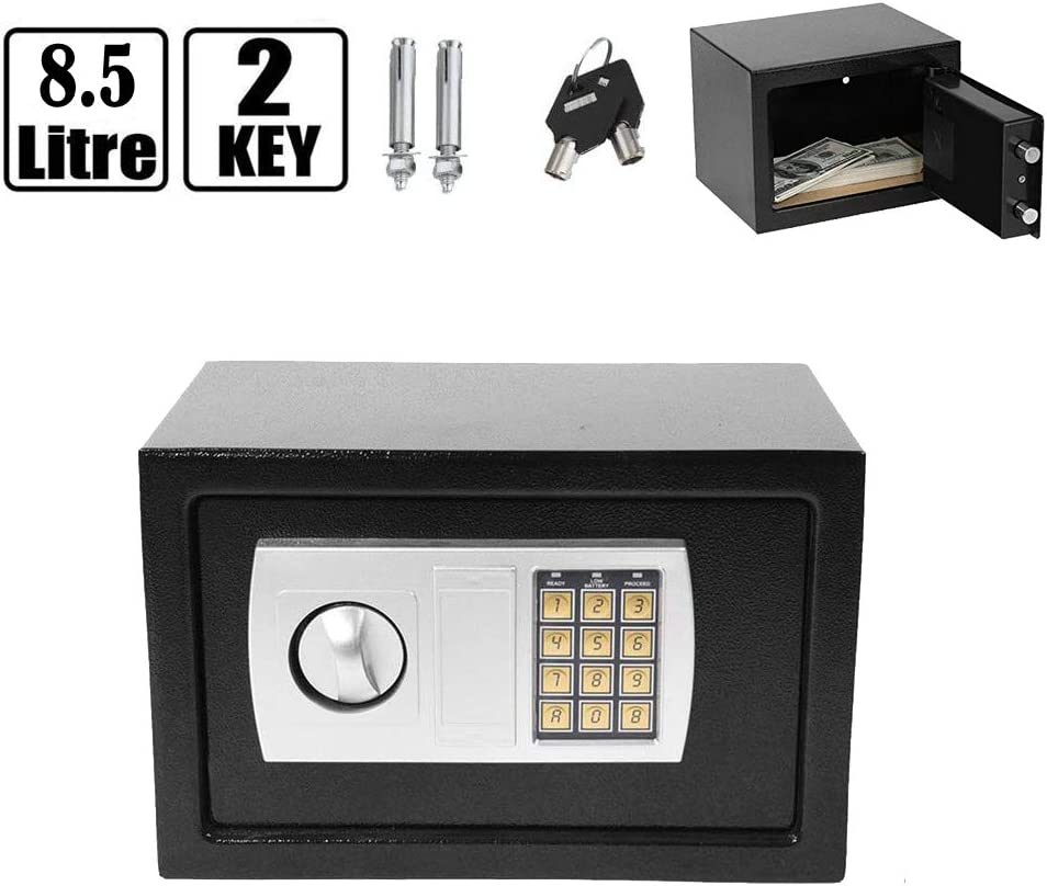 Can Mounted in Wall or Floor 23x17x17cm 4.6L Small Electronic Digital Cash Box Security Safe with Keys for Home Office Grey