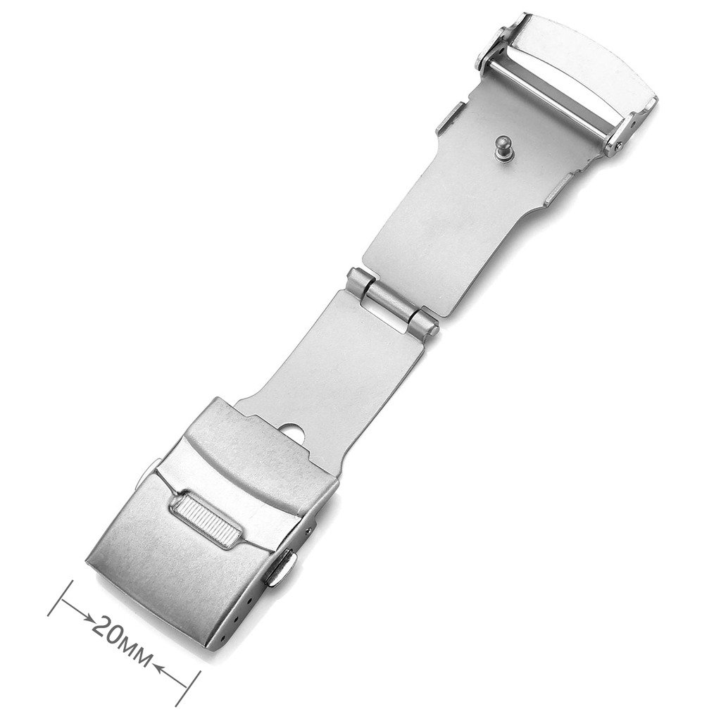Top Plaza Stainless Steel Deployment Clasp - 20mm Silver Single Fold Over Clasp Deployant Buckle with Insurance Watchband Clasp for Leather/Metal Watch Band Strap by Top Plaza (Image #2)