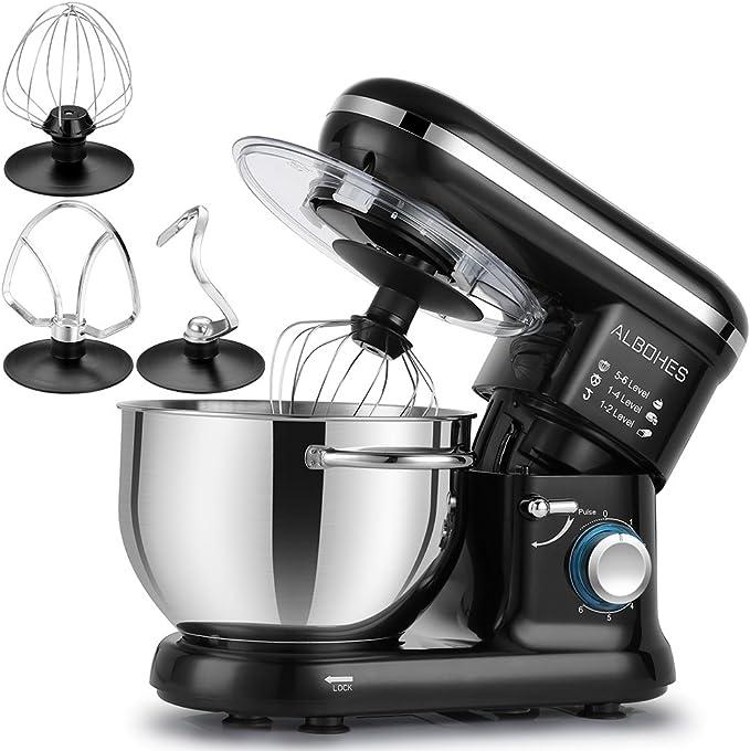 ALBOHES Batidora Amasadora, 6 Velocidades Kitchen Mixer Multifuncional, 3 Ganchos, Bajo Ruido, Robot de Cocina con Protector para Salpicaduras, Acero Inoxidable, Fácil de Limpiar, 5,5L, 800W: Amazon.es: Hogar