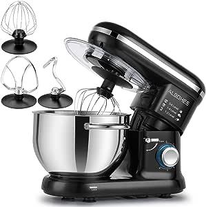 ALBOHES Batidora Amasadora, 6 Velocidades Kitchen Mixer Multifuncional, 3 Ganchos, Bajo Ruido, Robot de Cocina con Protector para Salpicaduras, Acero Inoxidable, Fácil de Limpiar, 5,5L, 800W