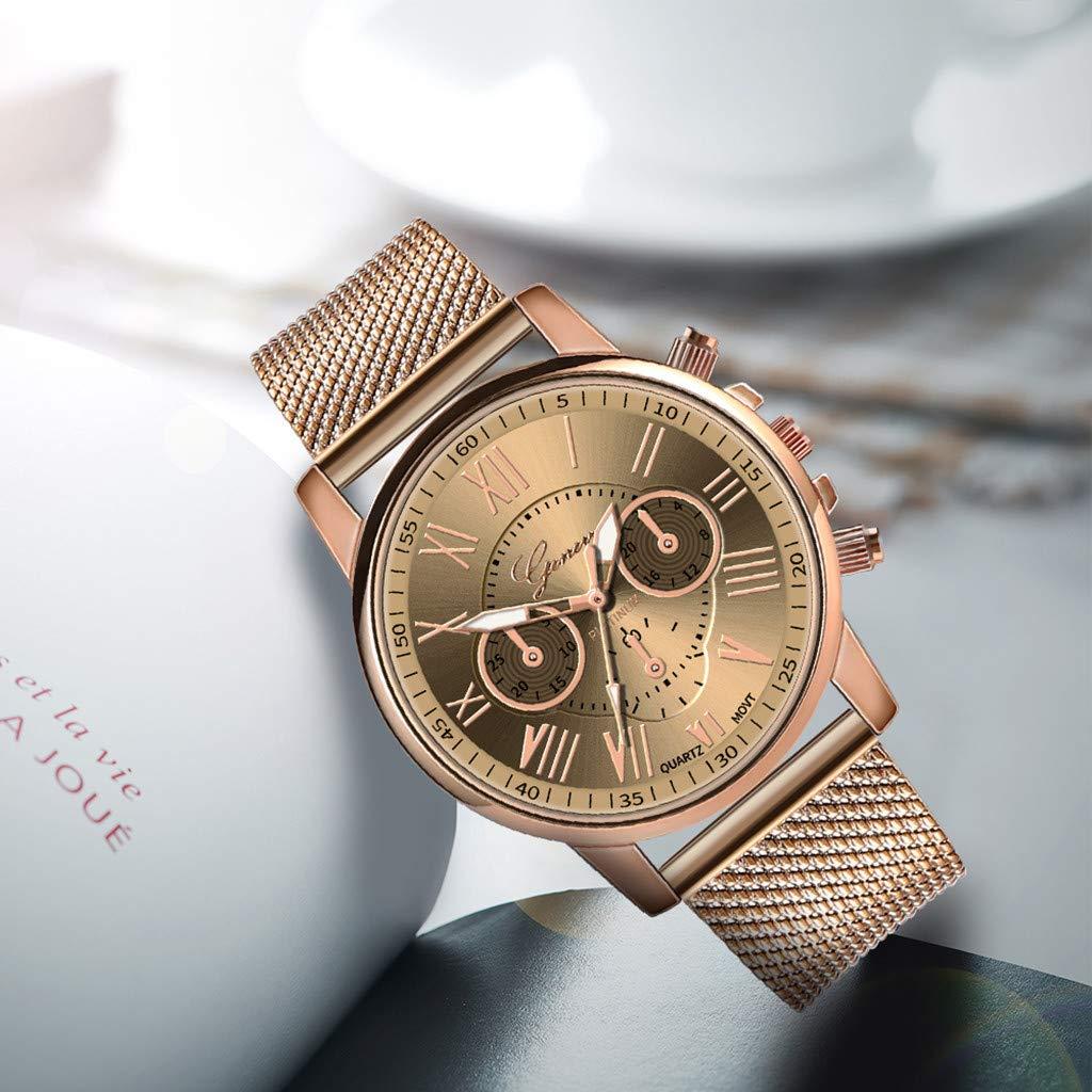 Pocciol Fashion Military Stainless Steel Quartz Watch Womens Casual Watch Luxury Analog Wristwatch (Beige) by Pocciol Cheap-Nice Watch (Image #3)