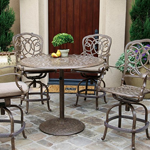 - Darlee Florence 5 Piece Cast Aluminum Patio Counter Height Bar Set With Swivel Bar Stools - Mocha