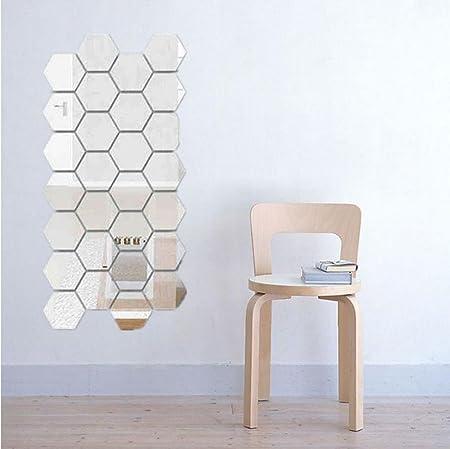 12Pcs Modern 3D Mirror Hexagon wall Sticker Decor Decal Home Room DIY Mural Hot