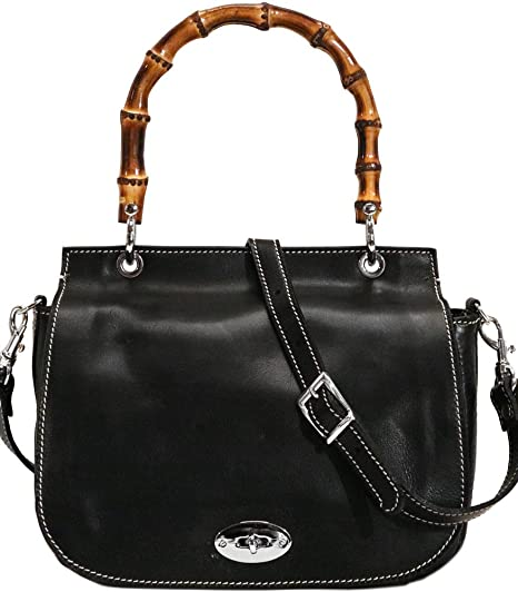 76ac76d37805 Image Unavailable. Image not available for. Color  Floto Bamboo Saddle  Cross Body Bag Full Grain Leather
