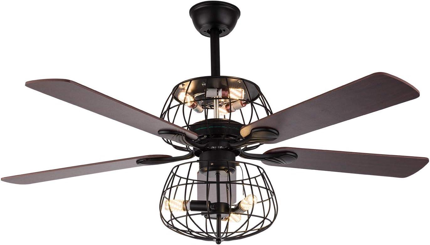Ventilador de techo de palma de 52 pulgadas, luces con mando a distancia de 3 velocidades, luces prémium con 6 luces y 4 hojas de palma, para decoración del hogar o restaurante