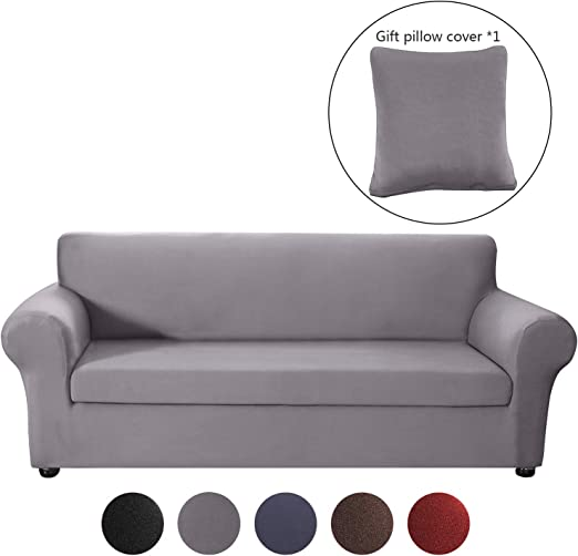 Mingfuxin 2PCS Anti Slip Sofa Covers,Upgraded Polyester Fabric Stretch Sofa Slipcovers Furniture Protector with Separated Sitting Cushion Covers and