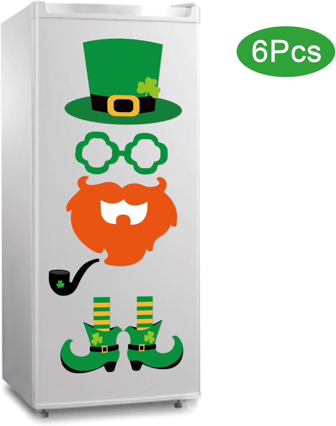 6Pcs St. Patrick's Day Refrigerator Magnets| St. Patrick's Day Decorations| Large Leprechaun Fridge Magnet Sticker| Irish Party Shamrock Decor| St. Patrick's Day Decor for Fridge Metal Door Cabinet