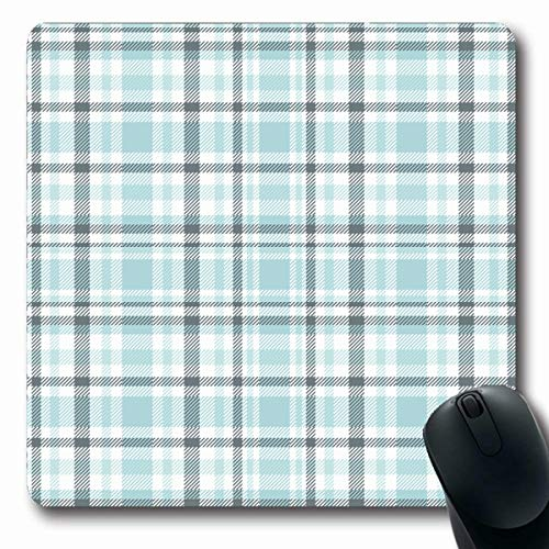 Picnic Green Border Tartan Plaid Pattern Light Blue Grey in Greenish Gray Cerulean Check Checkered Oblong Shape 7.9 x 9.5 Inches Non-Slip Gaming Mouse Pad Rubber Oblong Mat ()