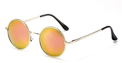 Miuno® Sonnenbrille mit runden Gläsern UV400 Herren Damen mit Etui Nickelbrille Federscharnier 8088 (Gestell: mattschwarz/Glässer:silberverspiegelt) rxw1cmfb