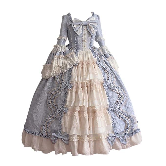 Vestido de Noche Medieval Vestido Vintage Largo Cuello ...
