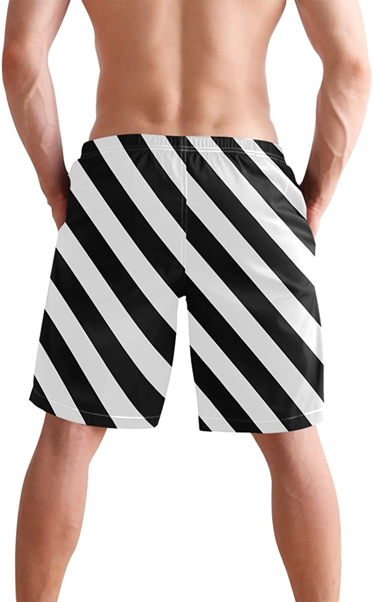 JERECY Mens Swim Trunks Geometric Knitted Colorful Stripes Pattern Quick Dry Board Shorts with Drawstring and Pockets