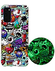 Miagon Luminous Effect Back Case Cover for Samsung Galaxy S20 Plus,Noctilucent Glow in the Dark Green Soft Slim TPU Gel Flexible Bumper,Monster