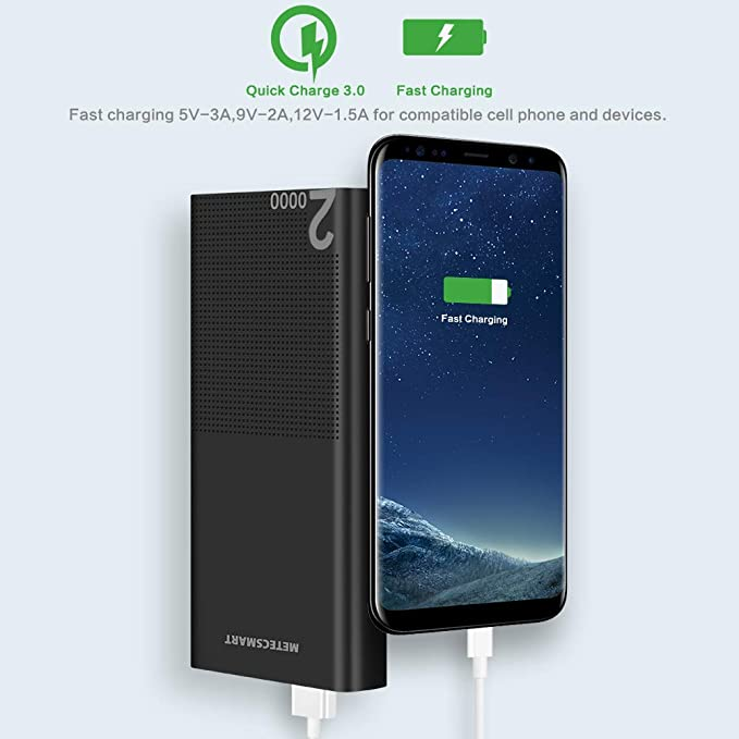 Power Bank 20000mah Portable Charger - Quick Charge 3.0 USB C Fast Charging Type C Backup Mobile External Battery Pack Powerbank Cell Phone Compatible ...