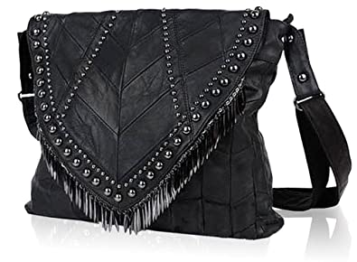 dee63fb56c44 Rivets Studded Shoulder Bag Fringe Beads Leather Handbag Womens Crossbody  Bookbag Tote-Pulama (Size