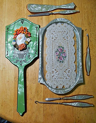 1930's Celluloid Cameo Hand Mirror Lace Vanity Antique Shell Cameo Erato, The Muse of Lyric Poetry, VANITY TRAY w/ Floral Petit SET. One of a Kind!