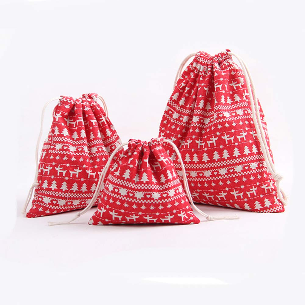 Burlap Snack Bags,Christmas Tree Bag for Packing Craft Gift Snowflake, S-5.5x6.3 Drawstring Burlap Bag Candy.Gift Bag Full of Christmas Atmosphere 3-Pack