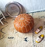 Product review for Maison Marrakech| Beautiful Handmade Real Leather Footstool Pouf from Marrakech | Colour Tan with White Stitching | Delivered unstuffed