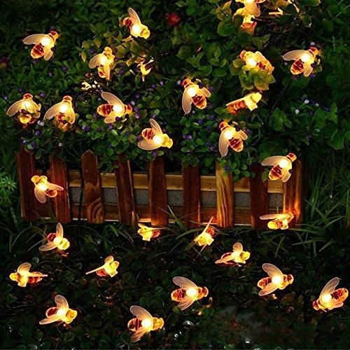 NXDA 20 LED Creative DIY Bee Shape Curtain Hanging Decorative Lamp Waterproof Courtyard Lamp (Brown)