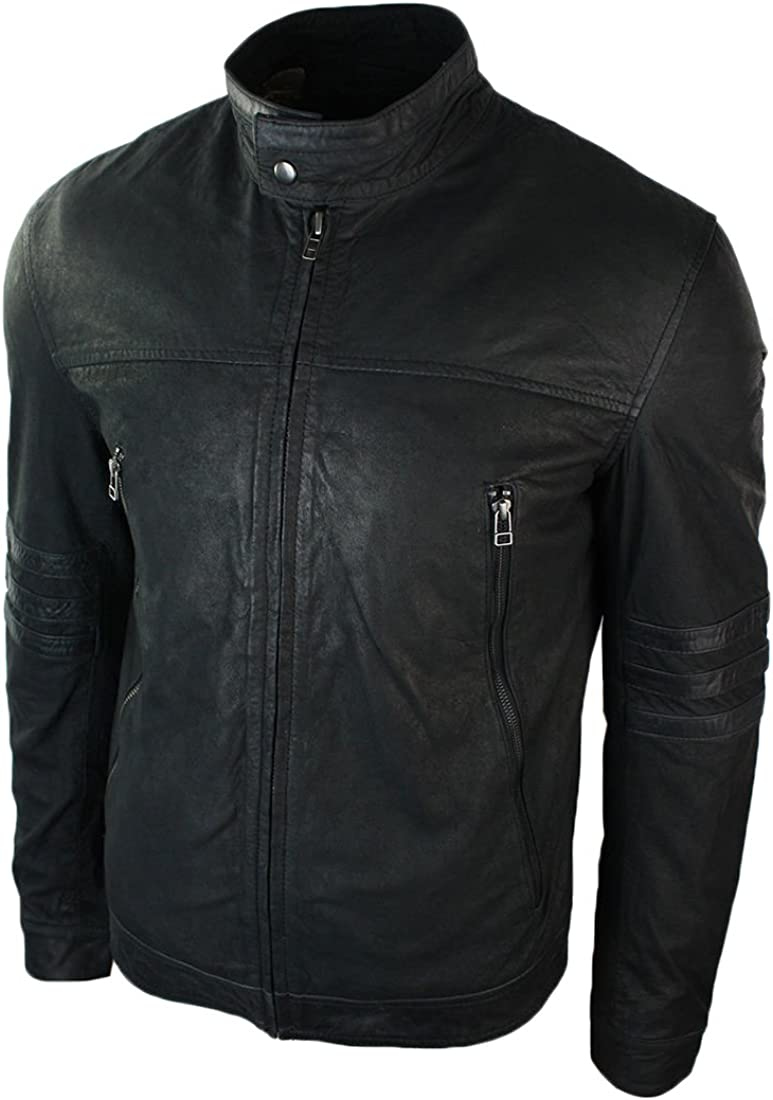 Men Leather Jacket New Soft Lambskin Slim Biker Bomber Coat T1343