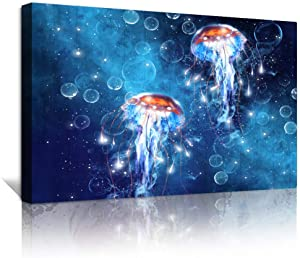 Bathroom Wall Decor Canvas Wall Art for Bedroom blue Ocean Sea Jellyfish Pictures Artwork Paintings inspiration Farmhouse Wall Art Decor Ready to Hang Pictures Home decoration Canvas art Prints