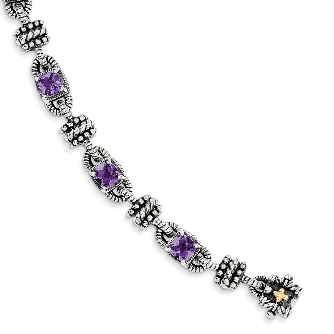 ICE CARATS 925 Sterling Silver 14k Purple Amethyst Bracelet 7.50 Inch Gemstone Fine Jewelry Gift For Women Heart by ICE CARATS (Image #1)