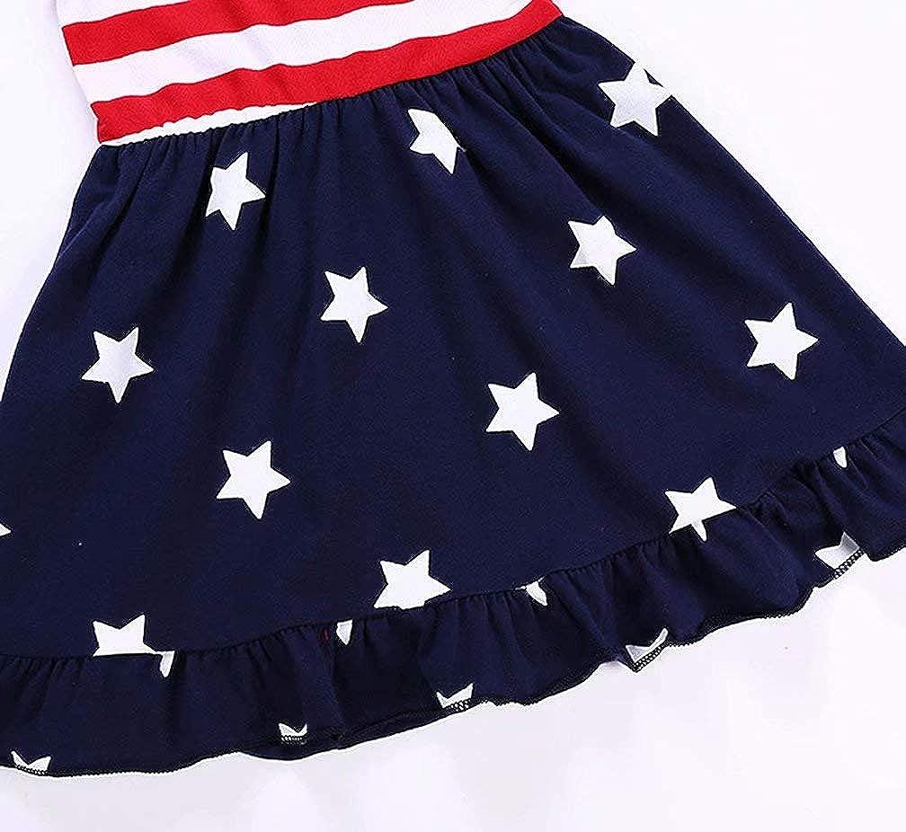 KIDDAD Toddler Baby Girls American Flag Stripe Star Dress Bowknot 4th of July Tutu Dress Striped Dress