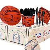 Another Dream NBA Basketball Spalding Party Supplies Party Pack for 16 guests (Plates, Cups, Full Cutlery Set, Napkins, and Table cover)