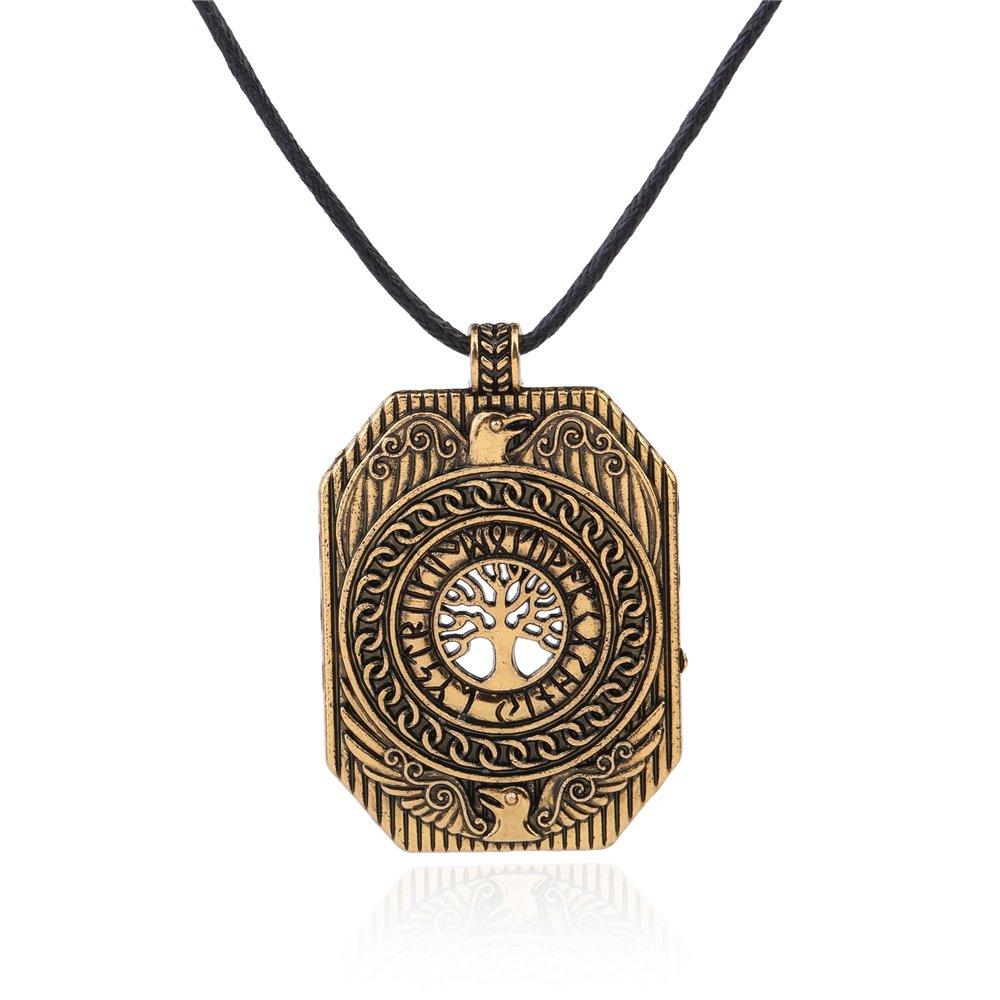 VASSAGO Vintage nordischen Wikinger Runen Lebensbaum Yggdrasil Odins Raben Anhänger Talisman Halskette YiYou