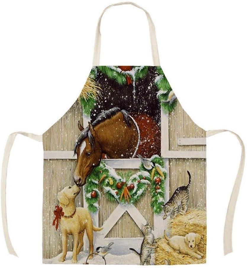 Alta calidad granja de caballos de cocina 1pcs delantal impresos de algodón sin mangas de lino Delantales for Herramientas Hombres Mujeres Limpieza del hogar 55 * 68cm delantales