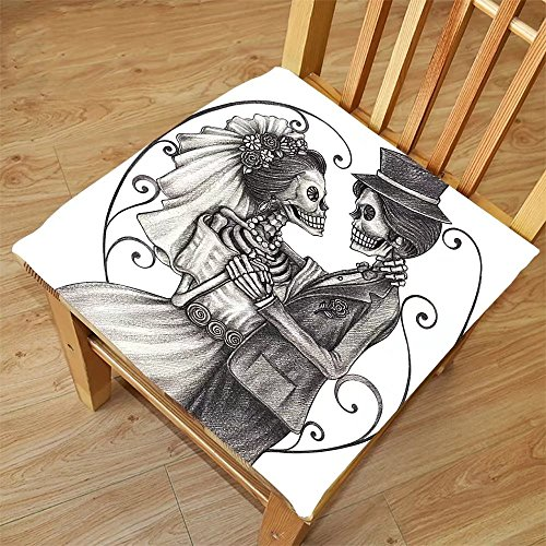 Nalahome Set of 2 Waterproof Cozy Seat Protector Cushion Day Of The Dead Decor Love Skull Skeleton Marriage Eterna Love Spanish Festive Print Dimgrey and White Printing Size - Eterno Sunglasses