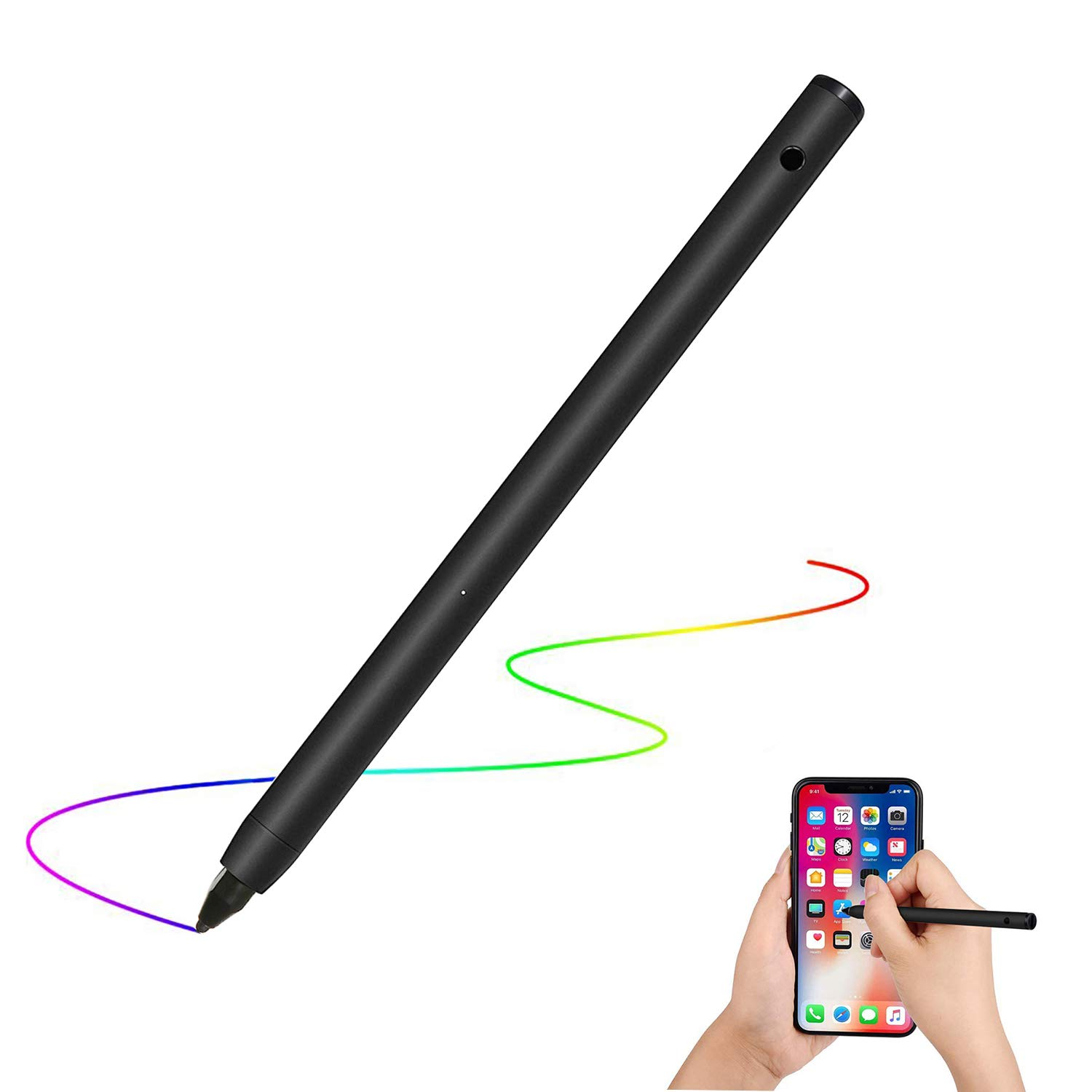 Active Stylus Digital Pen with Adjustable Fine Tip Rechargeable for Accurate Writing/Drawing on iPhone/iPad/Samsung/Surface/Android Touchscreen, Smartphones, Tablets, Notebooks (Black) by desin